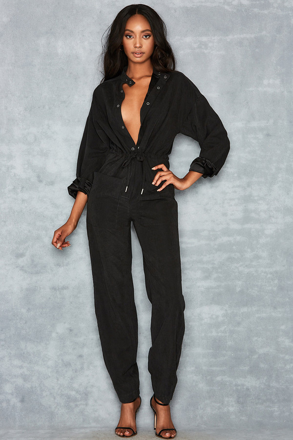 High Road Black Tapered Boiler Suit