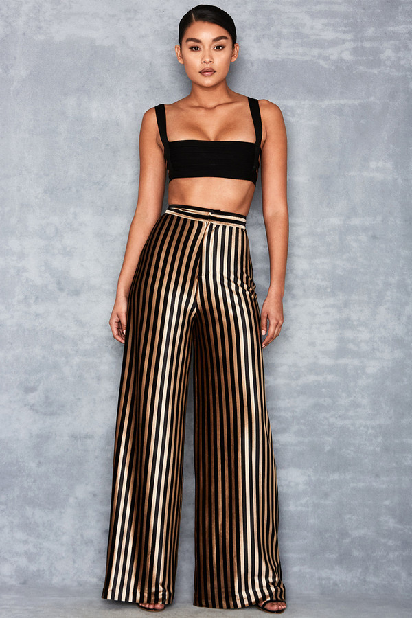 Postpone Black + Gold Velvet Stripe Wide Leg Trousers