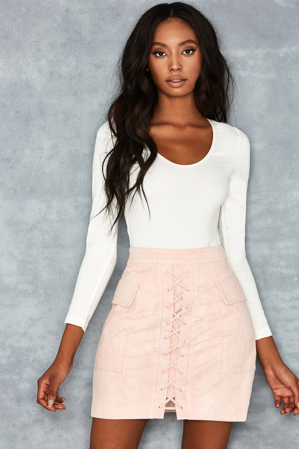 Want Pink Suedette Lace Up Mini Skirt