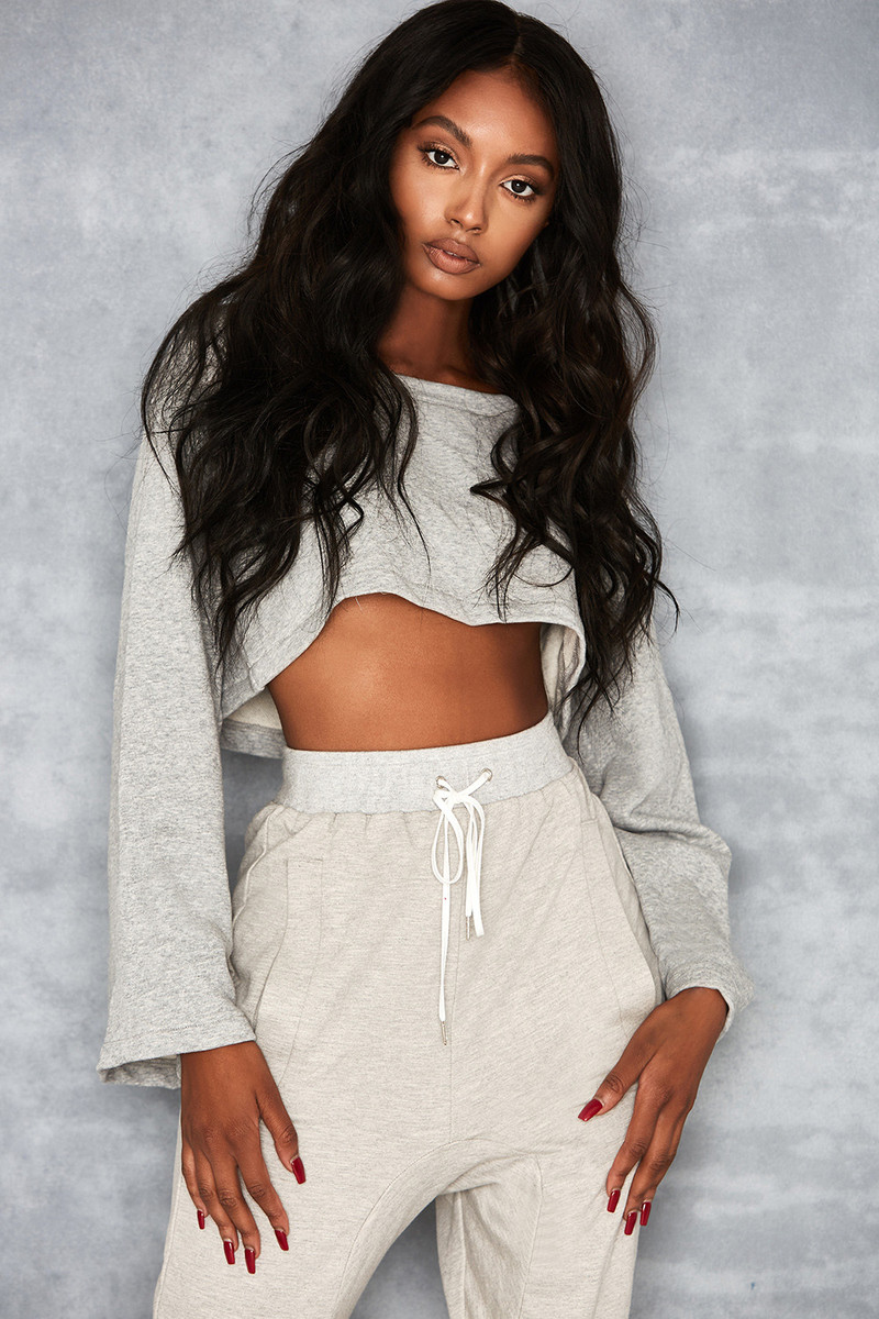Distress Marl Grey Cropped Sweatshirt