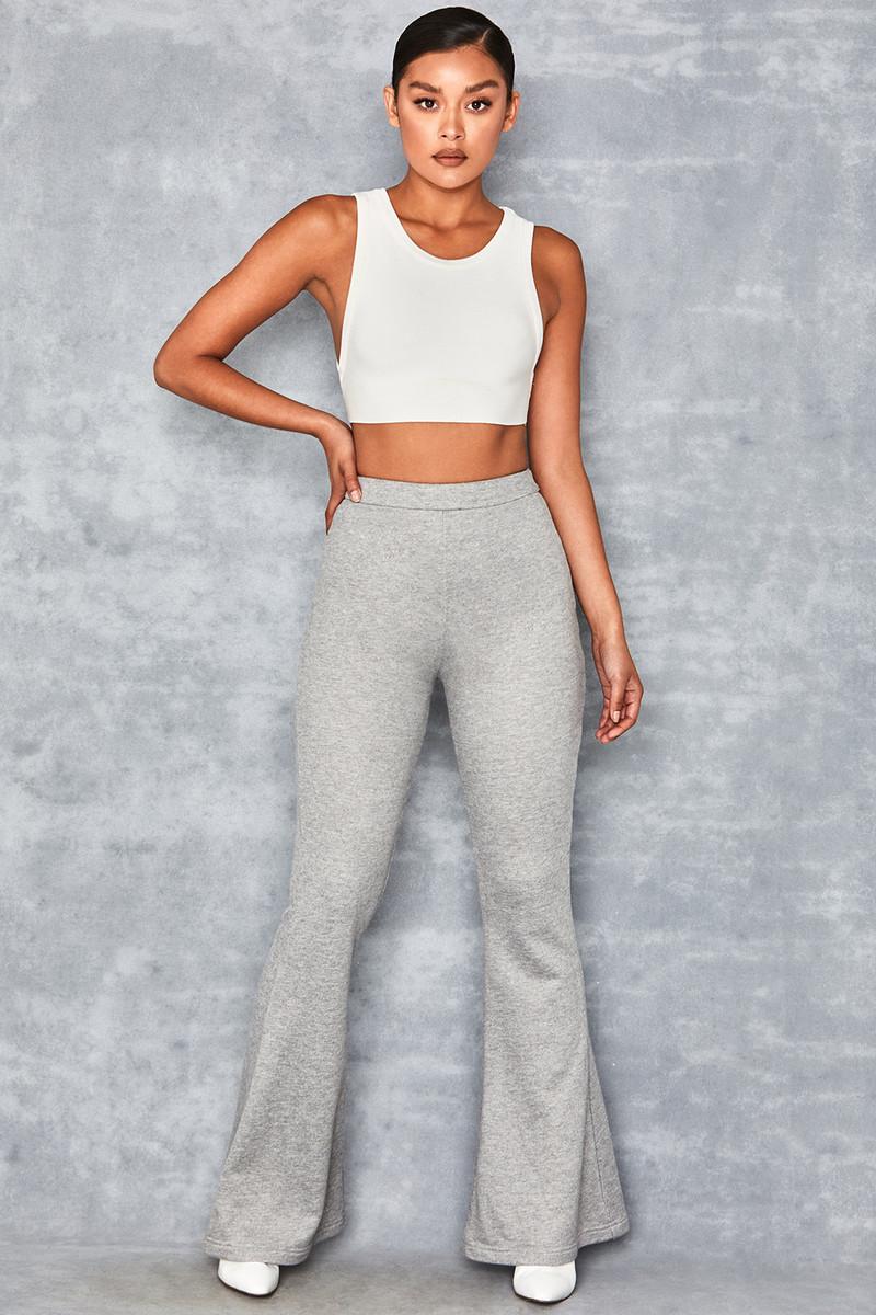 Atom Grey Marl High Waisted Stretch Flared Trousers