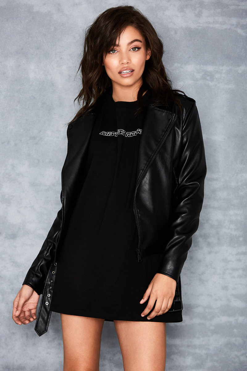 Enamoured Black Vegan Leather Biker Jacket