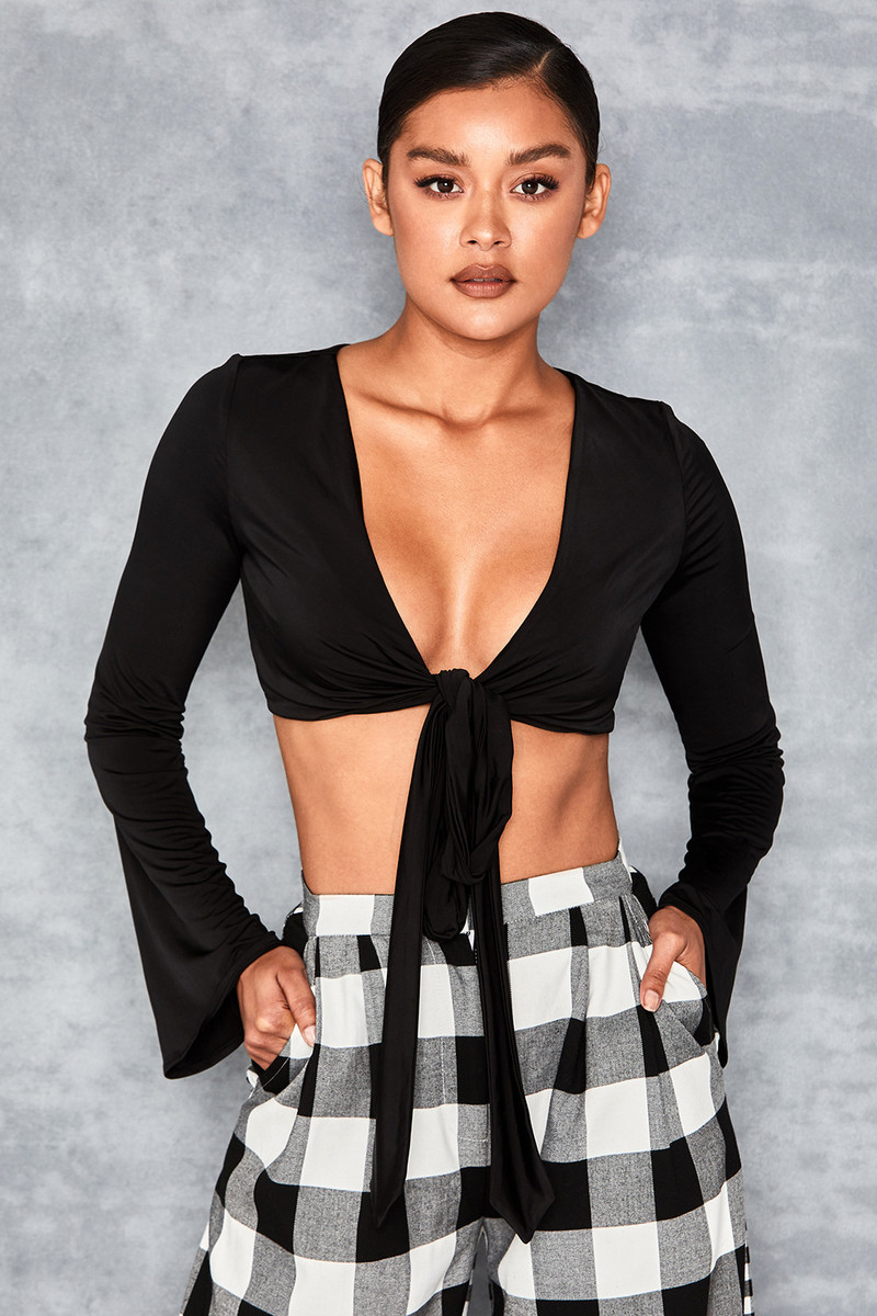 Fix It Black Wrap Tie Back Top