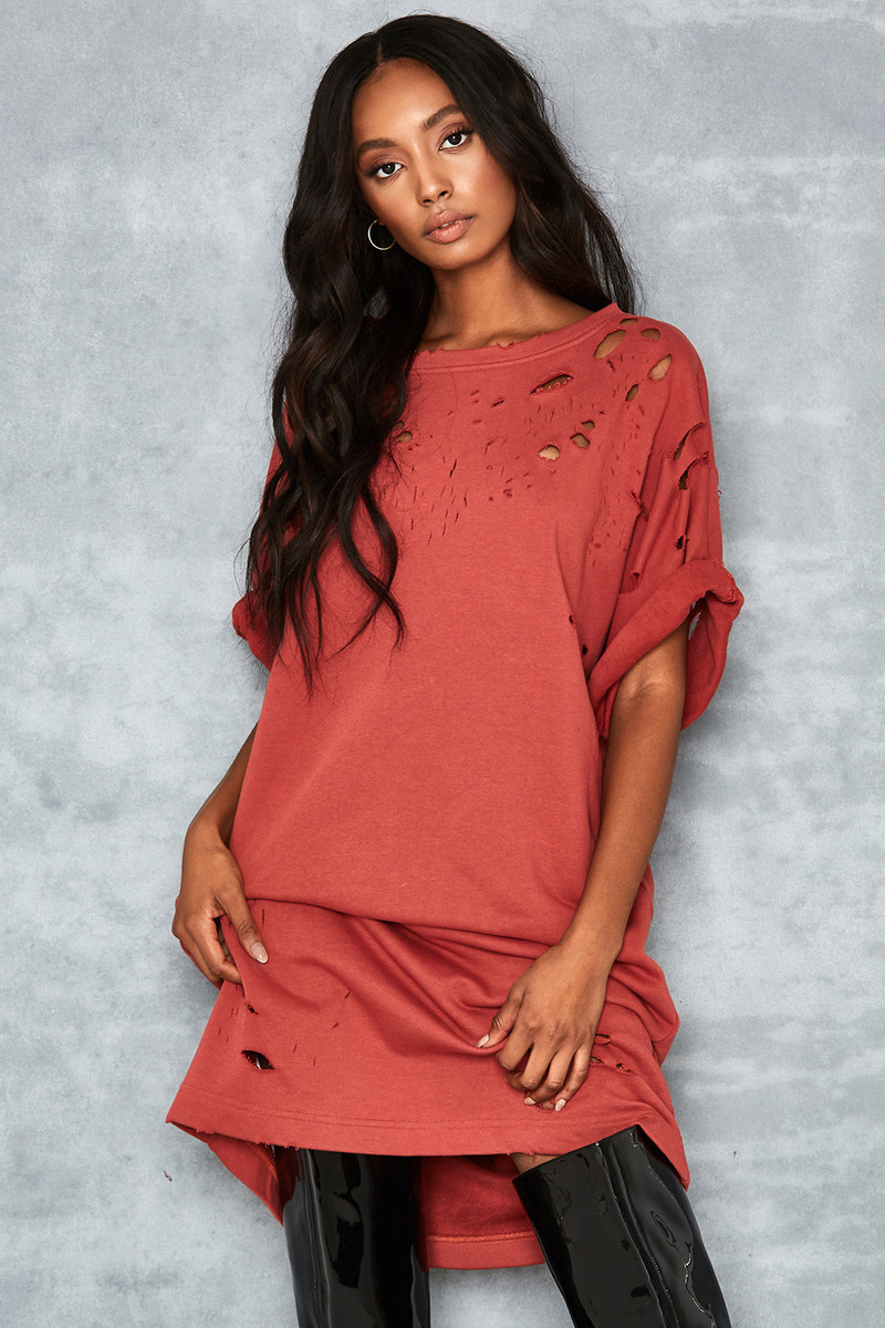 Fortitude Terracotta Oversized T Shirt Dress