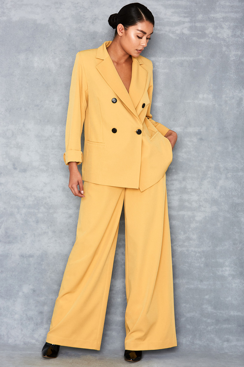 Ravish Yellow Wide Leg Trousers