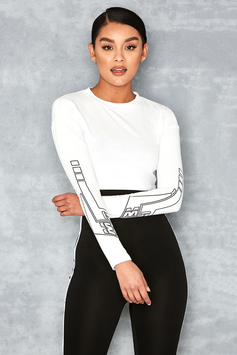 Show Girl White Cropped Logo Top