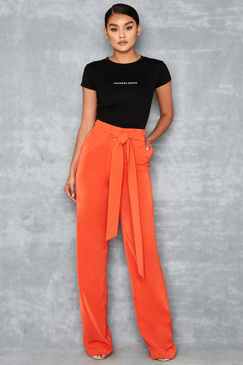 Fascinate Orange Red High Waist Paper Bag Trousers