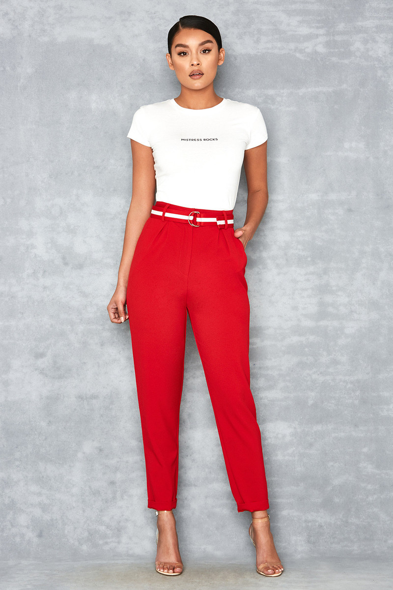 Tenacity Deep Red Pleat Front Trousers