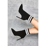 Rain Black Knit Ankle Boots with White Logo Stripe