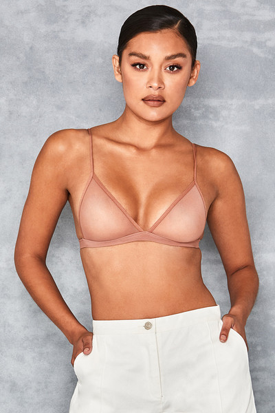Dreamboat Tan Sheer Mesh Triangle Bra