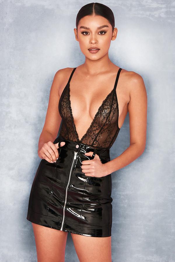 Ooh La La Black Lace Plunge Bodysuit
