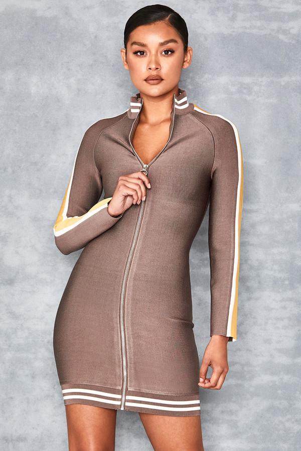 Adorable Stone Zip Up Long Sleeve Bandage Dress