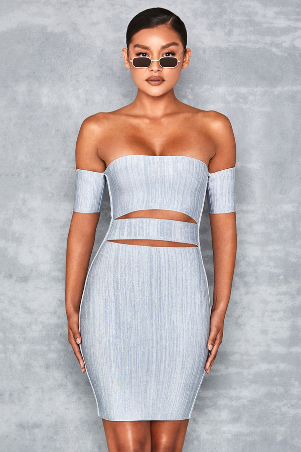 Carousel Denim Marl Bardot Bandage Dress