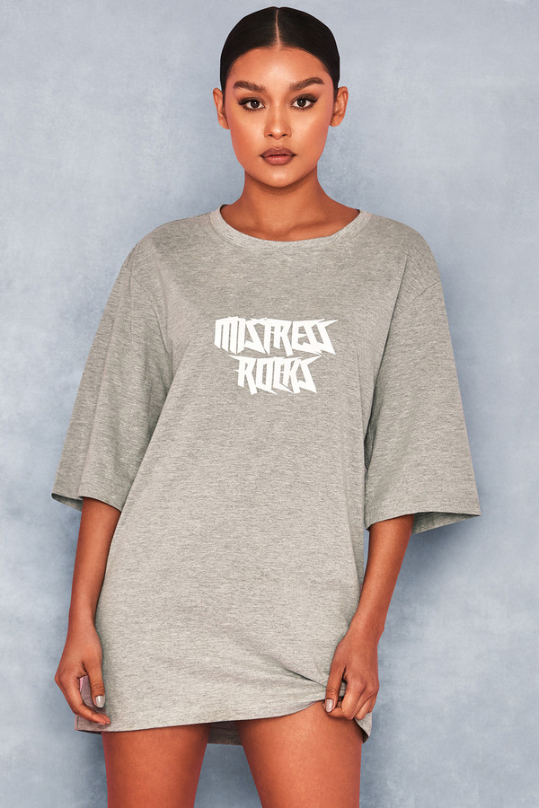 Chosen Grey Marl Oversized Logo T Shirt