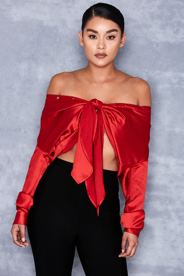 'Control' Red Satin Off Shoulder Shirt