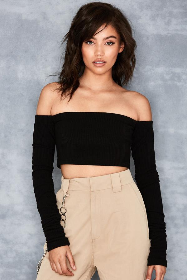 Elusive Black Off Shoulder Bardot Sweater