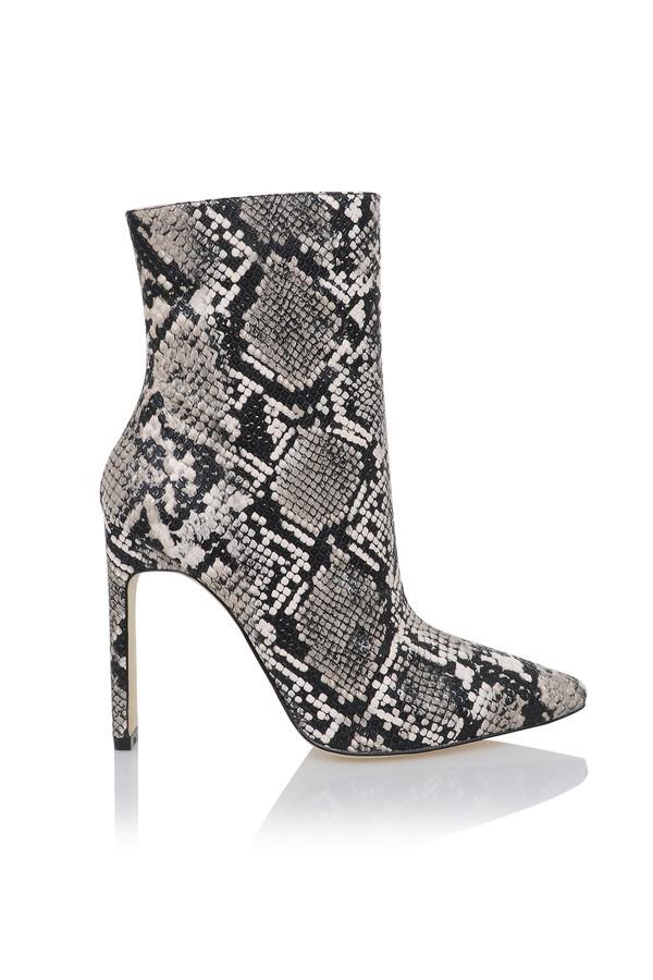 Malachi White And Black Snake Skin Print Ankle Heels