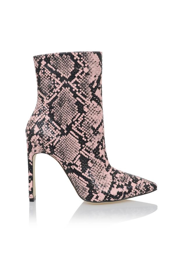 Malachi Pink And Black Snake Skin Print Ankle Heels