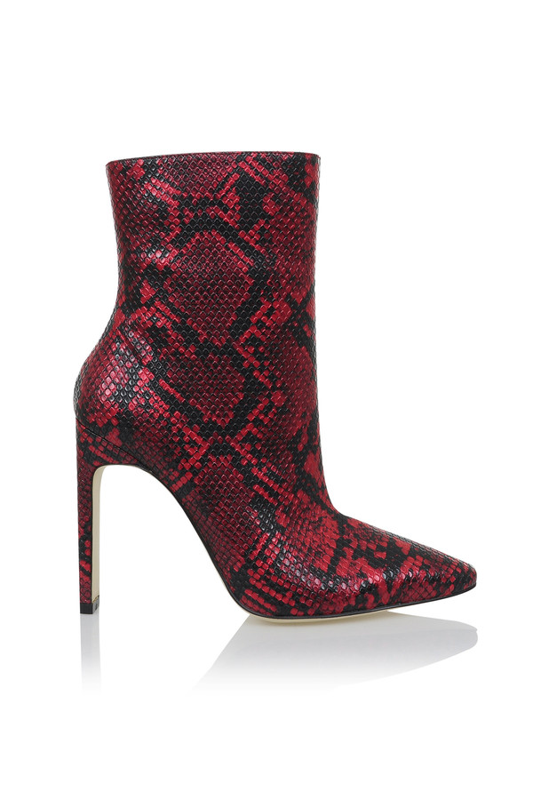 Malachi Red And Black Snake Skin Print Ankle Heels