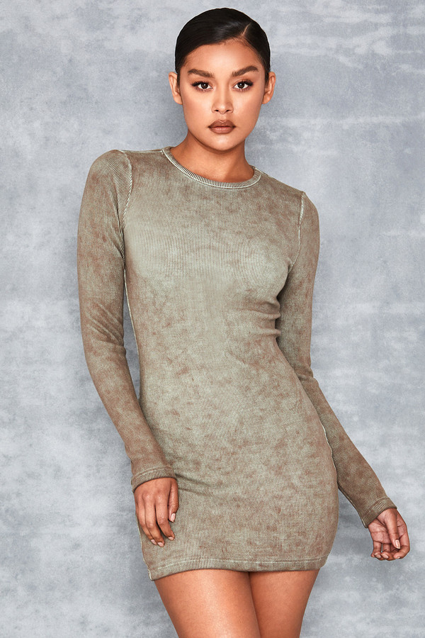 Quest Brown Grey Oil Wash Rib Jersey Mini Dress