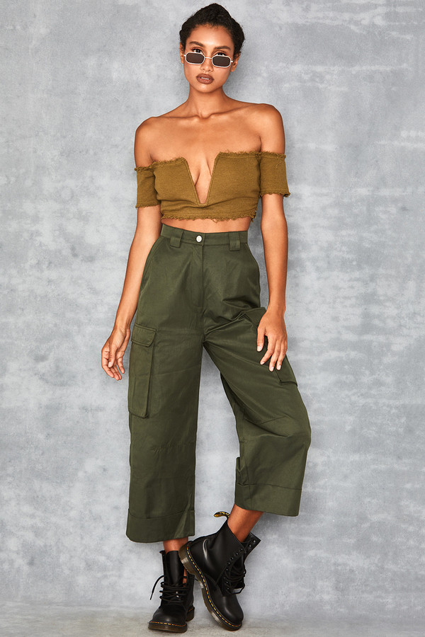 Done Khaki Rolled Leg Trousers