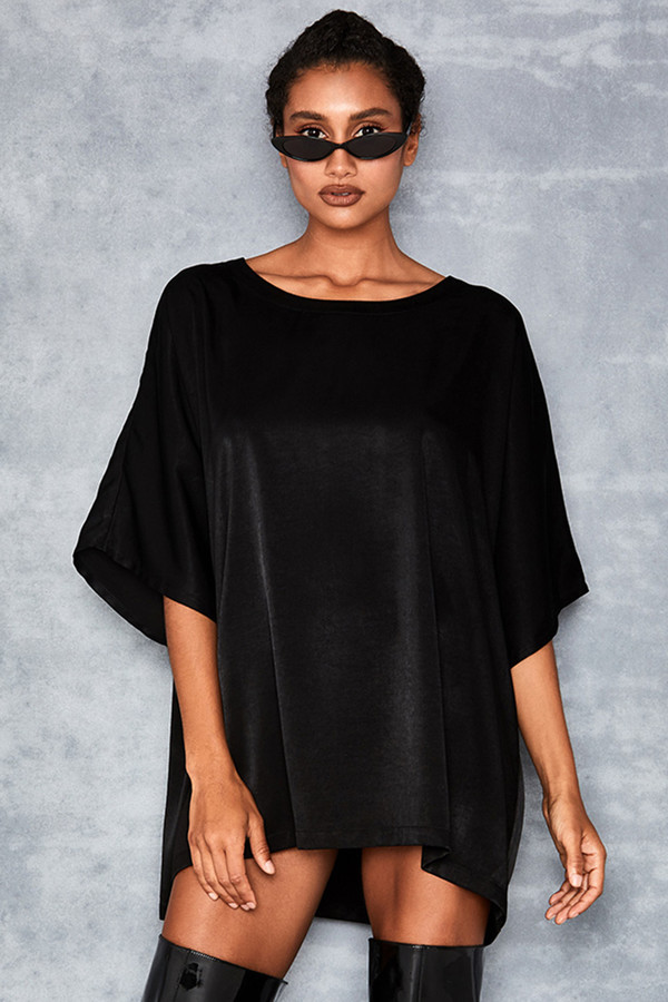 Repel Black Satin Batwing Tshirt