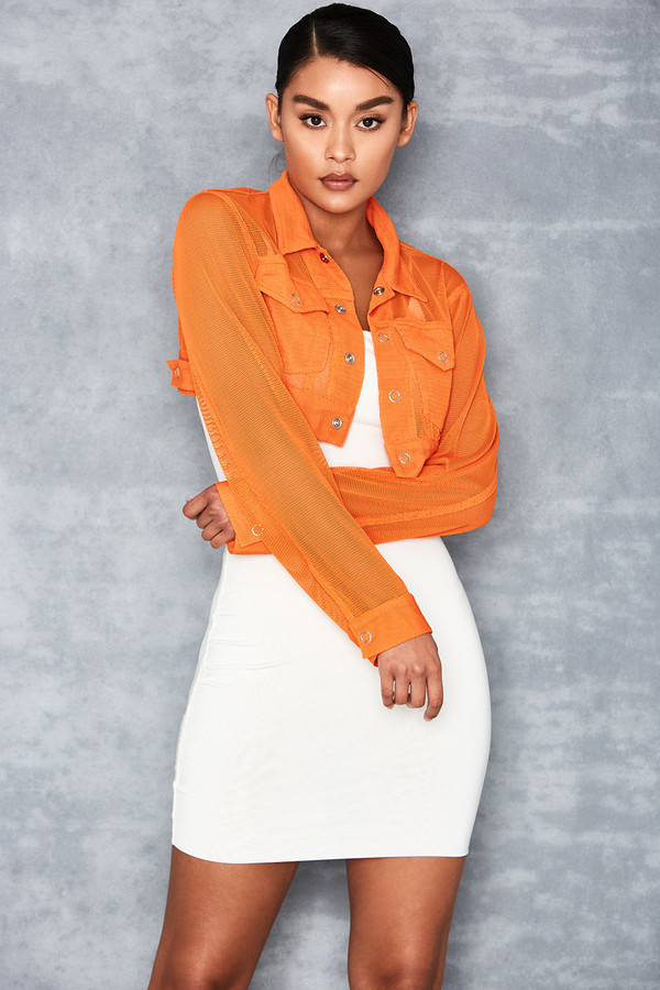 Walk About Orange Airtex Cropped Jacket