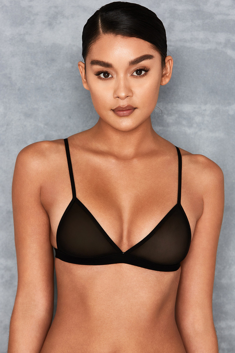Dreamboat Black Sheer Mesh Triangle Bra