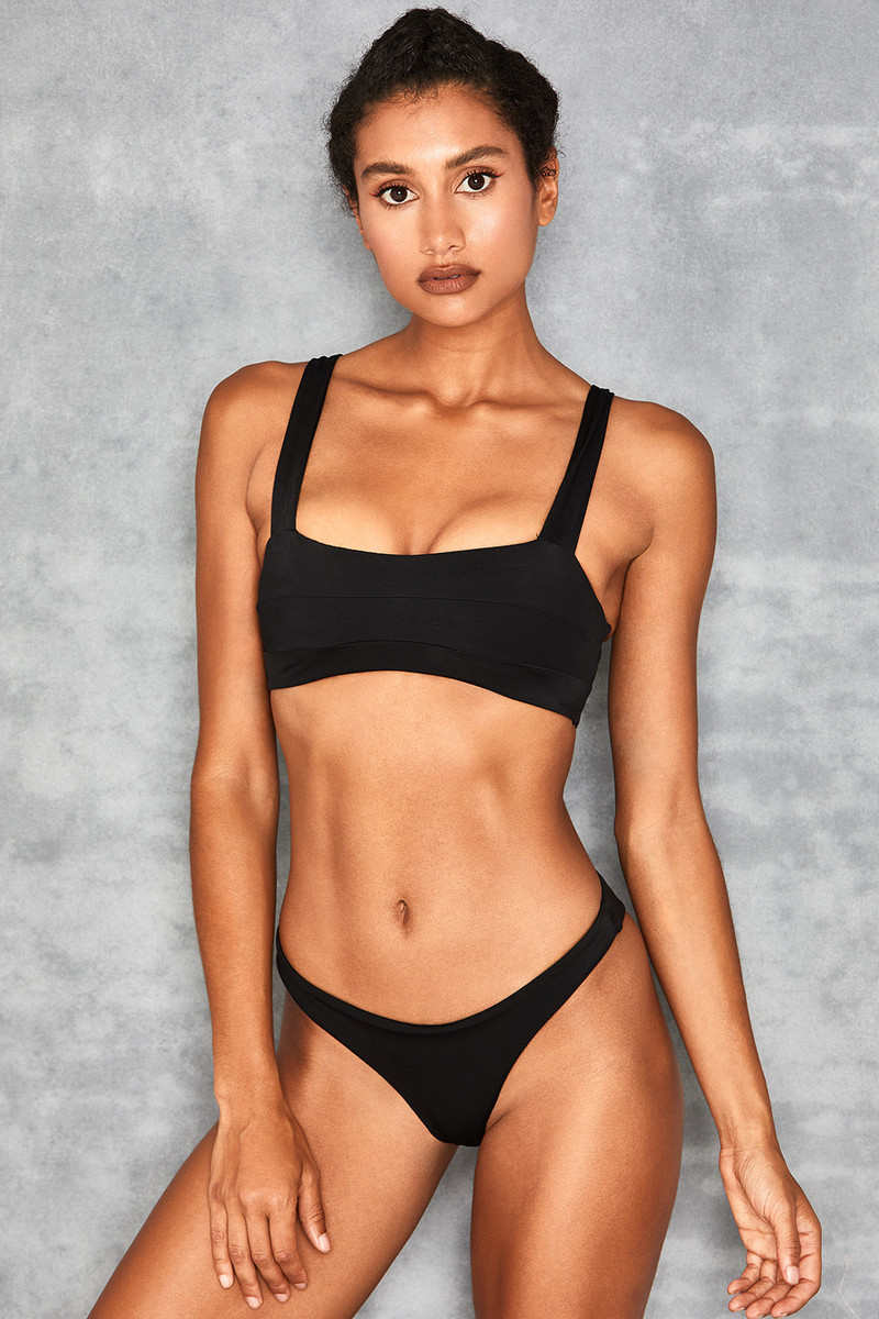 Kos Black Seamed Bandeau Bikini Two Piece