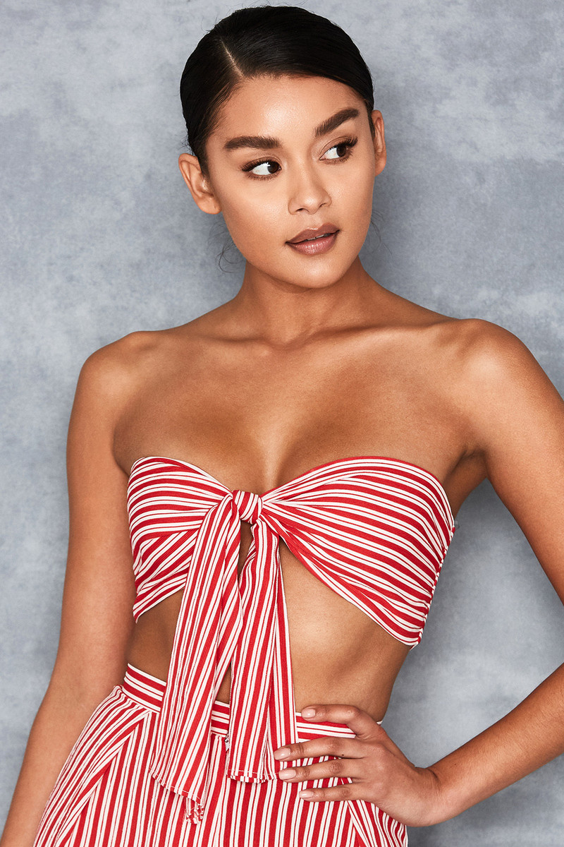 Love Shack Red + White Striped Bandeau Top