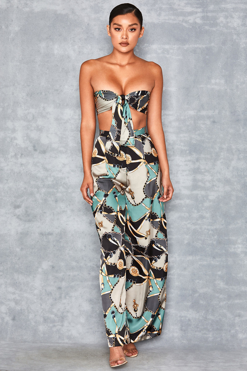 Intrepid Multi Chain Print Wide Leg Trousers