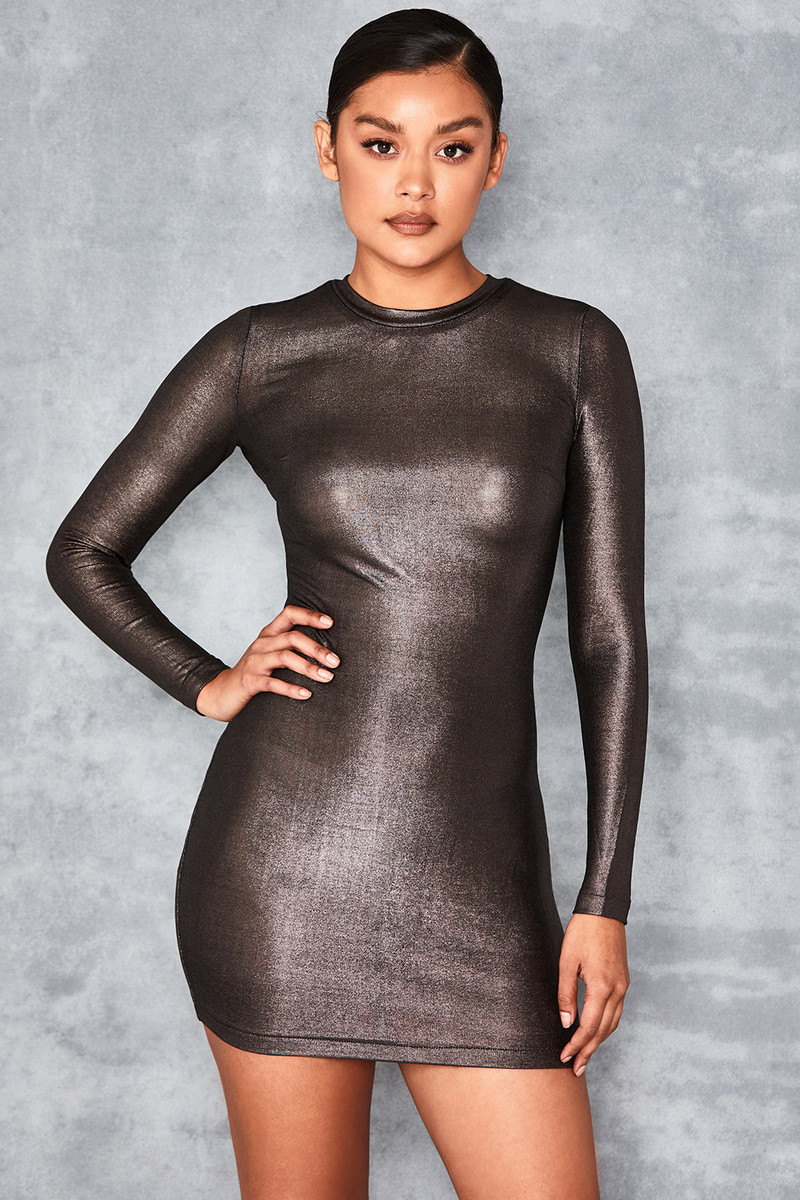 Magical Pewter Metallic Long Sleeved Dress