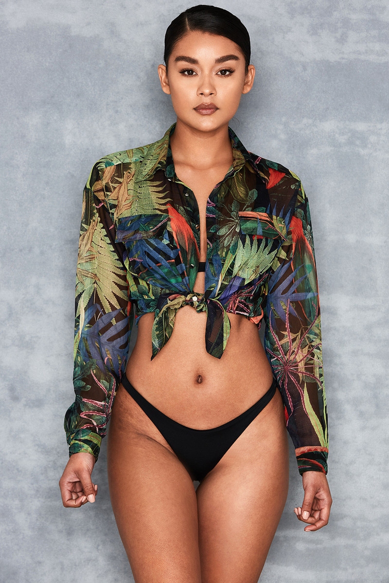 Militant Green Chiffon Tropical Print Sheer Shirt