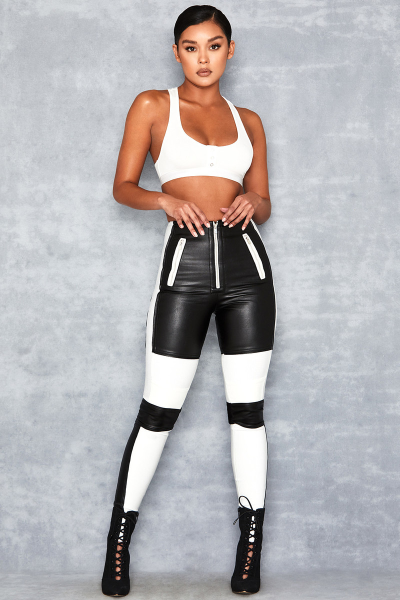 Philosophy Black Bandage + Vegan Leather Biker Pants