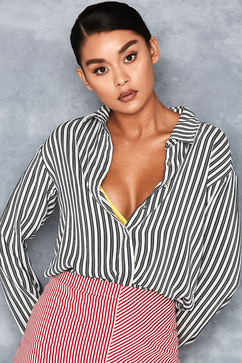 'Prism' Black + White Stripe Shirt