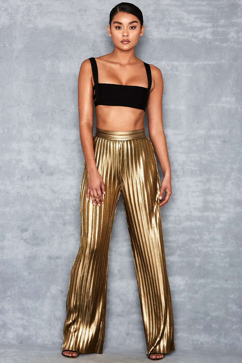 Shimmy Gold Metallic Pleated Trousers